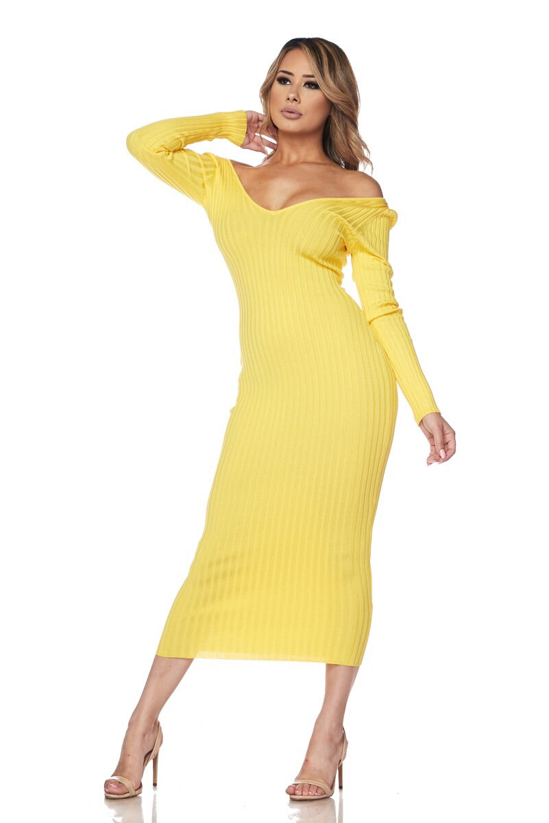 Yellow Knit Sweater Dress