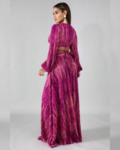 Godiva Pink Pleated Maxi Skirt set