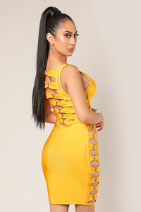 Electra Yellow Bodycon Bandage Dress