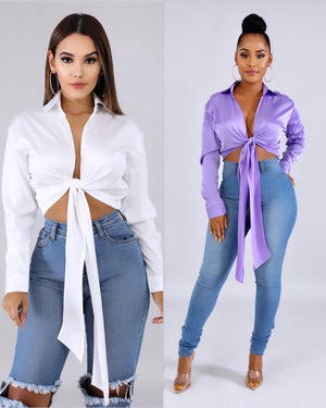 Touch Me Silk Wrap Crop Top