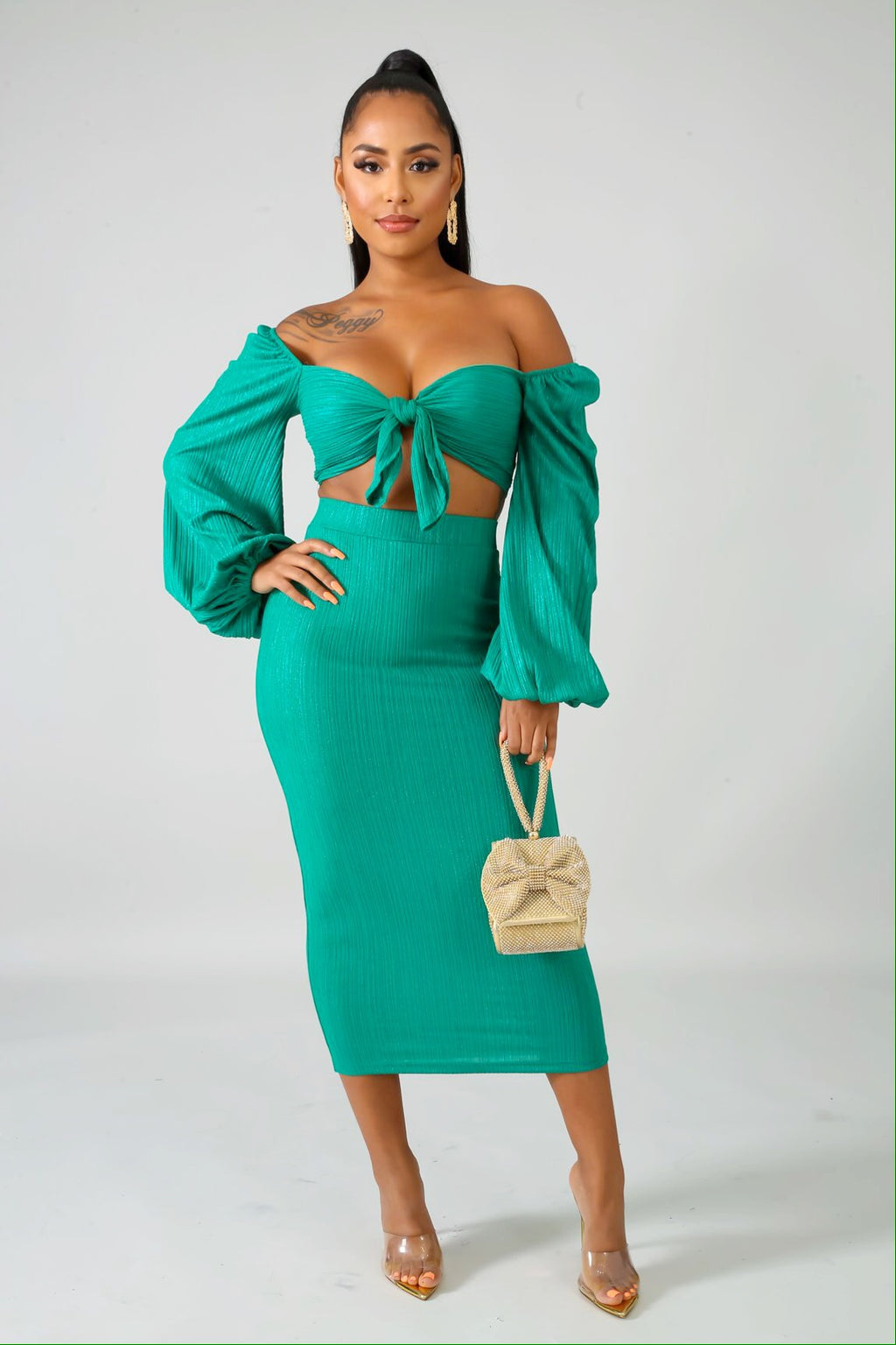 Adorn Green Skirt Set