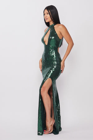 Green Sequin Maxi Dress
