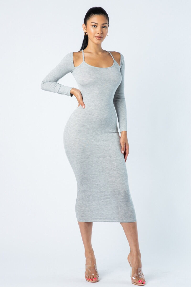 Cold Shoulders Midi Dress