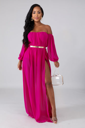 Slit Motives Maxi Dress