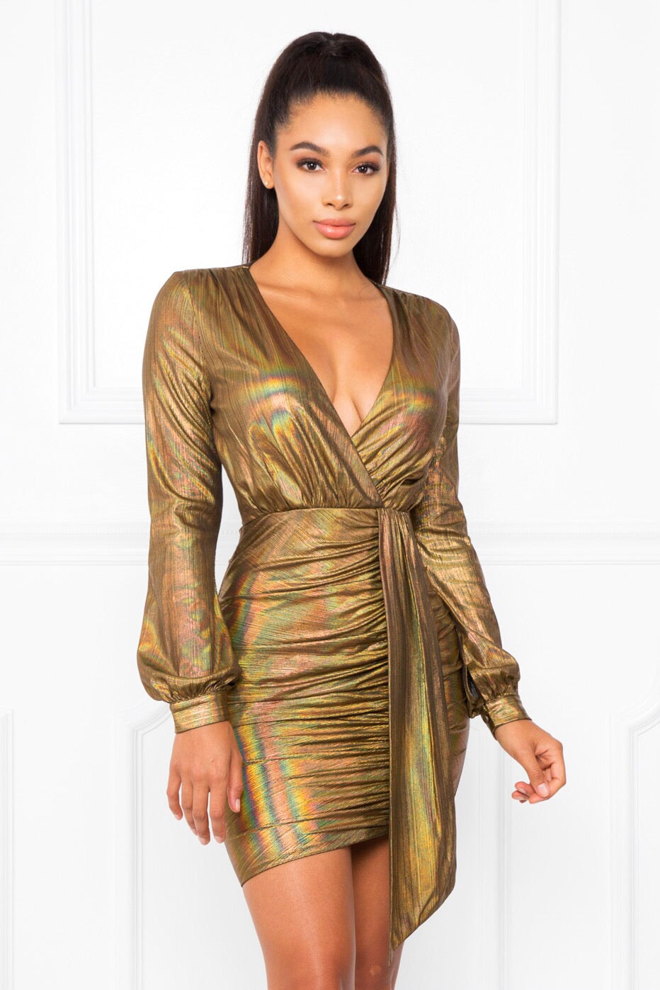 Halo | Gold Ruched Bodycon Dress