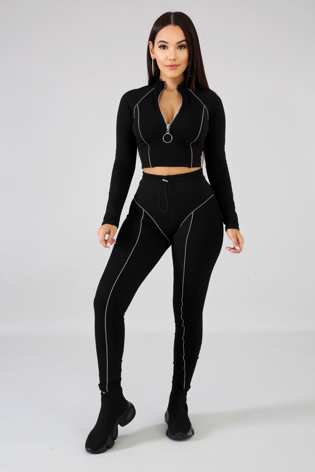 | Crop Top-Jogger Pants Tracksuit Set