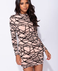 Complicit Abstract Print Mesh Bodycon Dress