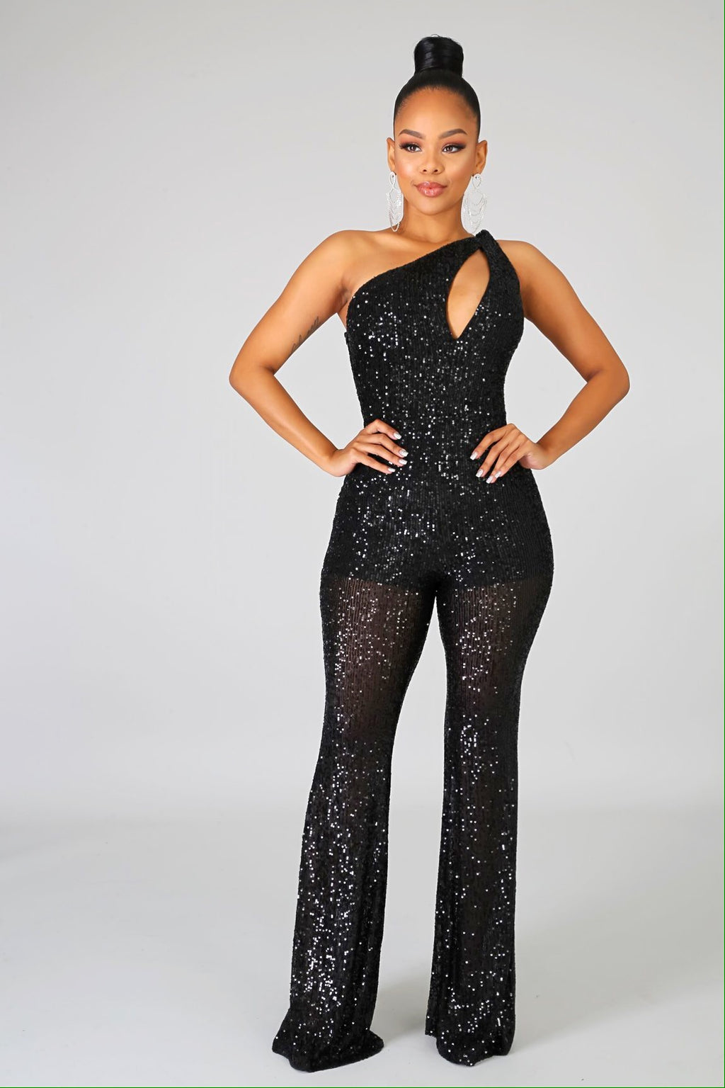Eve's Sequin Slit Jumpsuit
