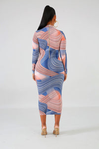 Here To Stay Blue Marbled Midi Dress