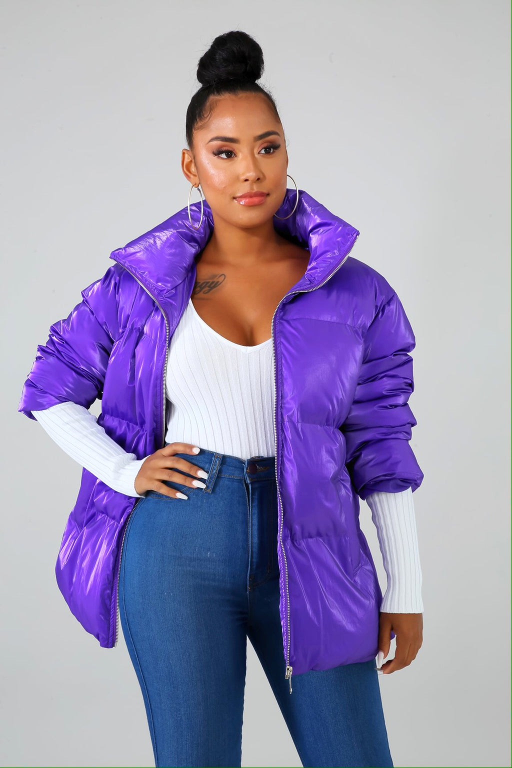 Fly Girl Purple Bomber Jacket