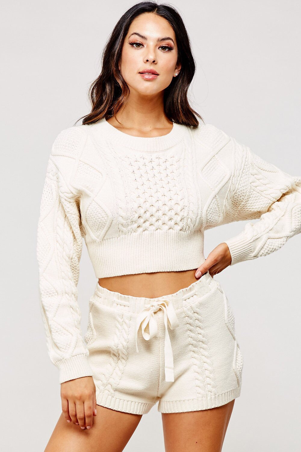 Amelia Cable Knit Sweater Short Set