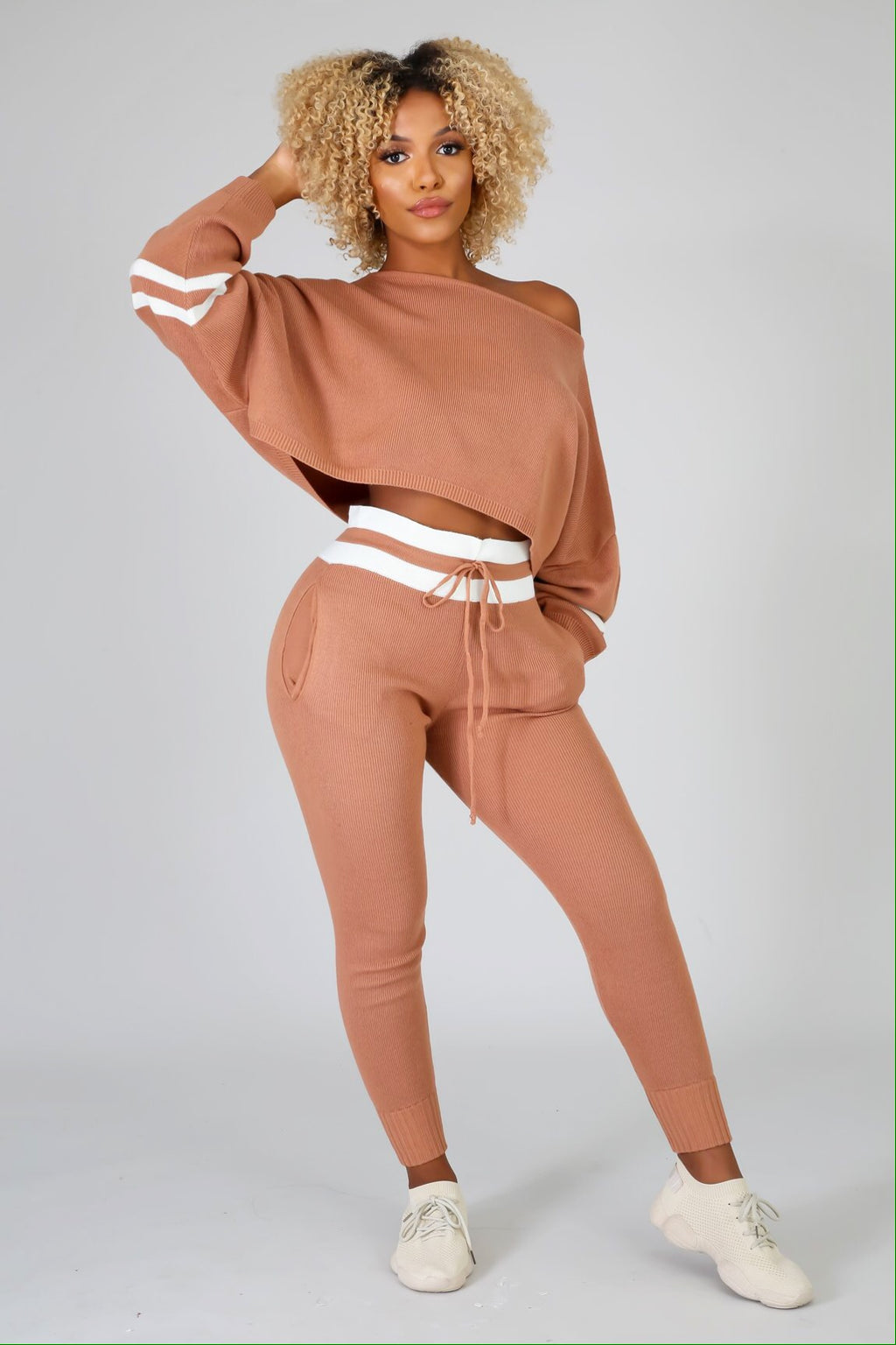Jetlag Crop Sweater Jogger Pants Set