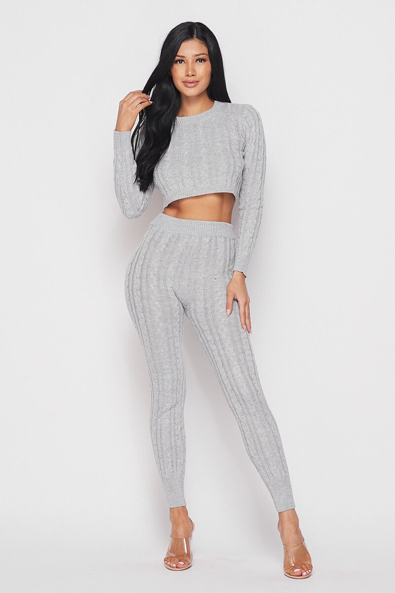 Love Nets Grey Knit Crop Sweater Pants Set