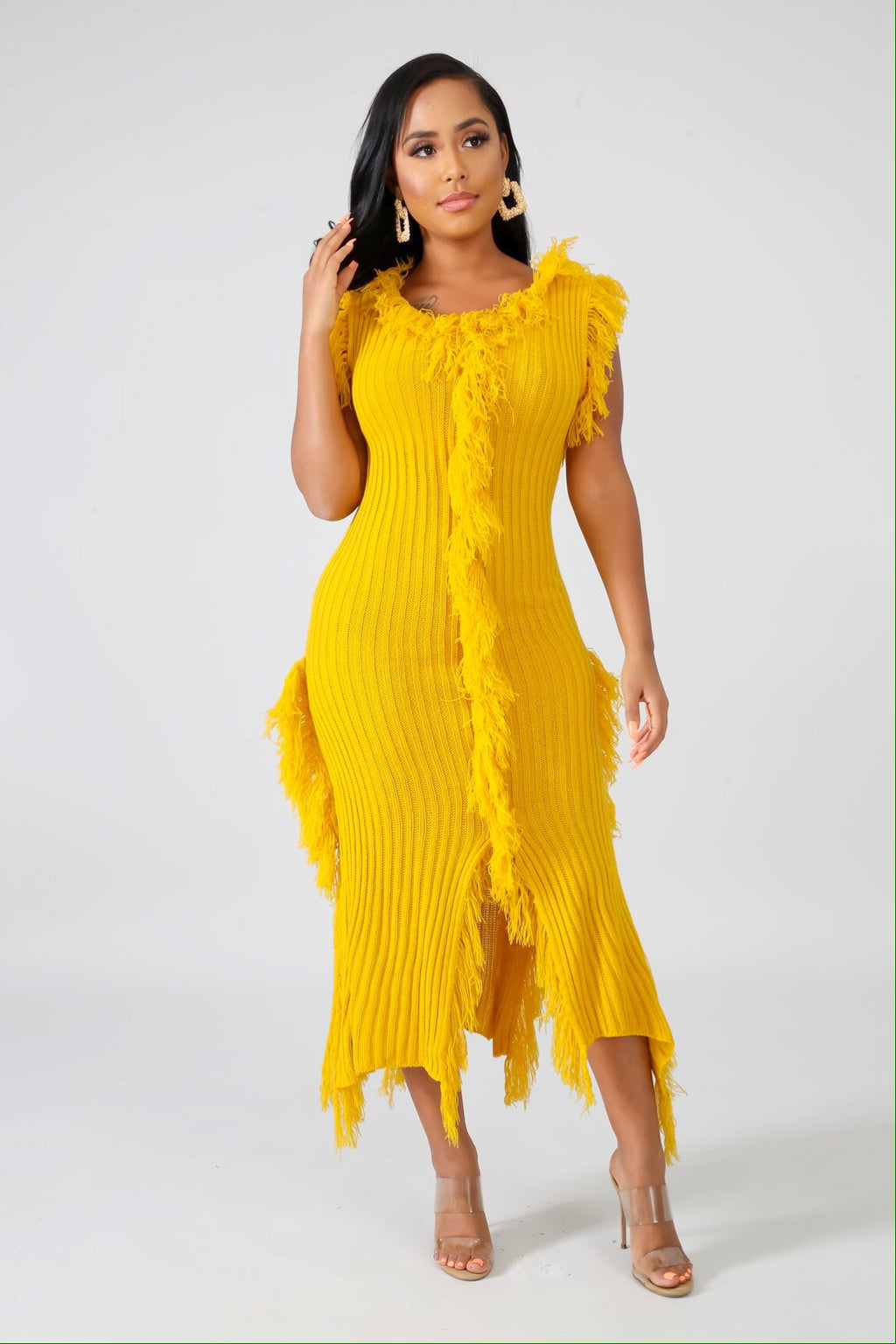 Rave Yellow Shredded Knit Sweater Dress