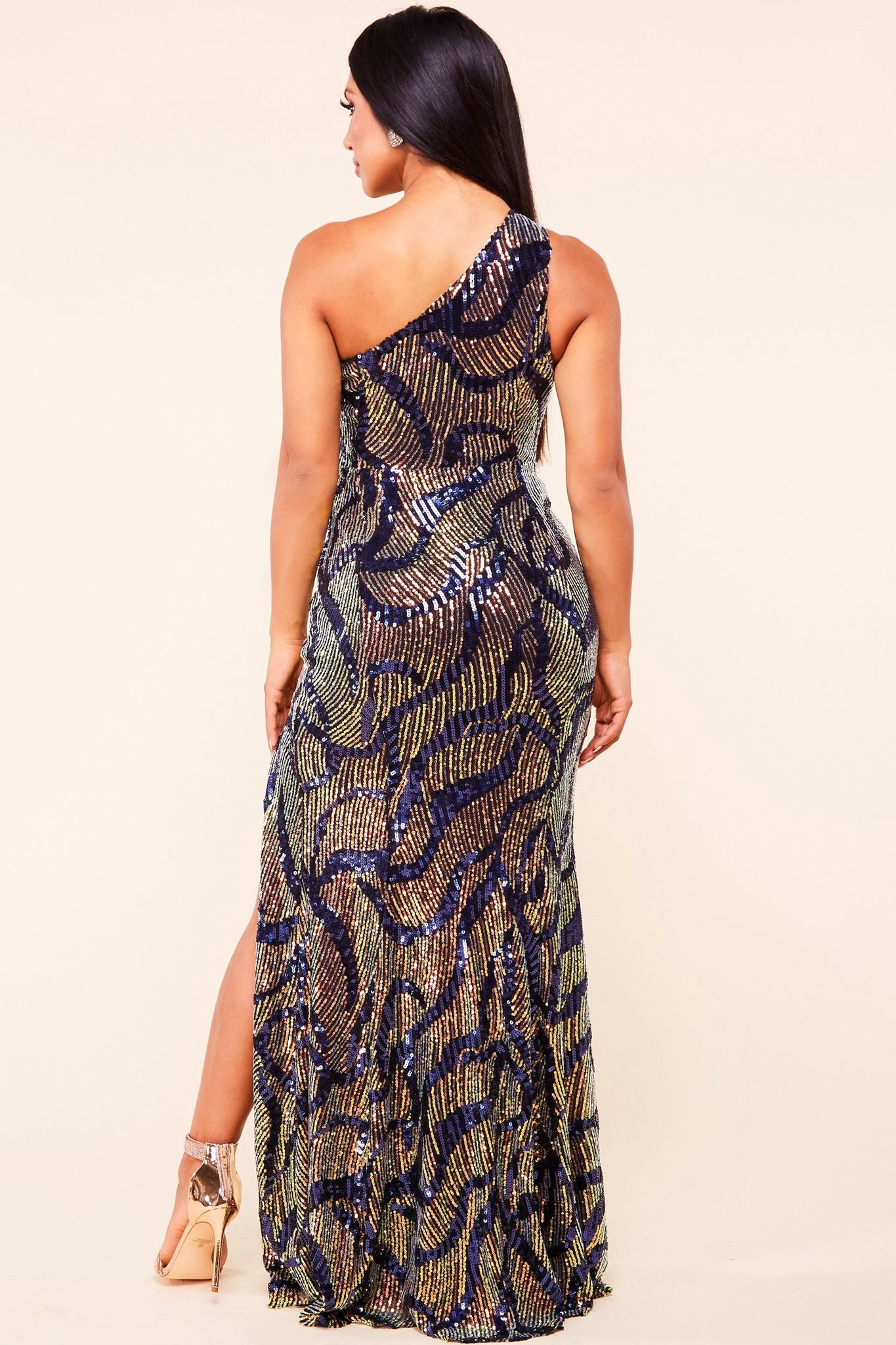 Danica One Shoulder Sequin Maxi Dress