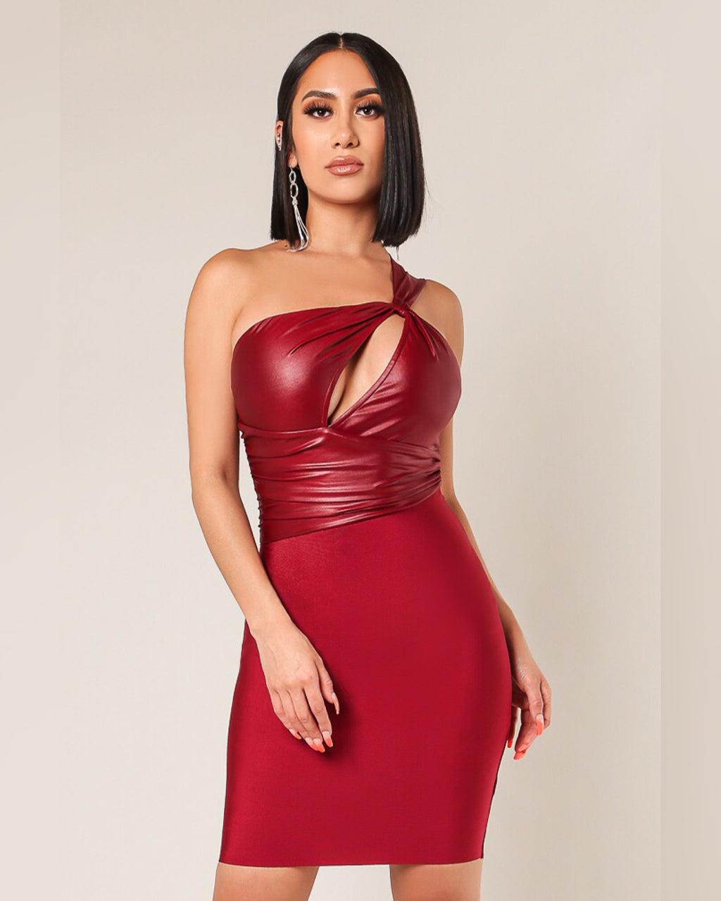 Wanted Red One Shoulder Dress