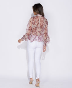 Yours Truly Floral Print Bow Blouse