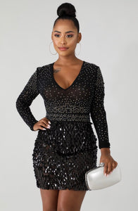 Glam And Glits Sequin Tacks Bodycon Dress