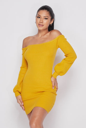 Yellow Off Shoulder Mini Sweater Dress