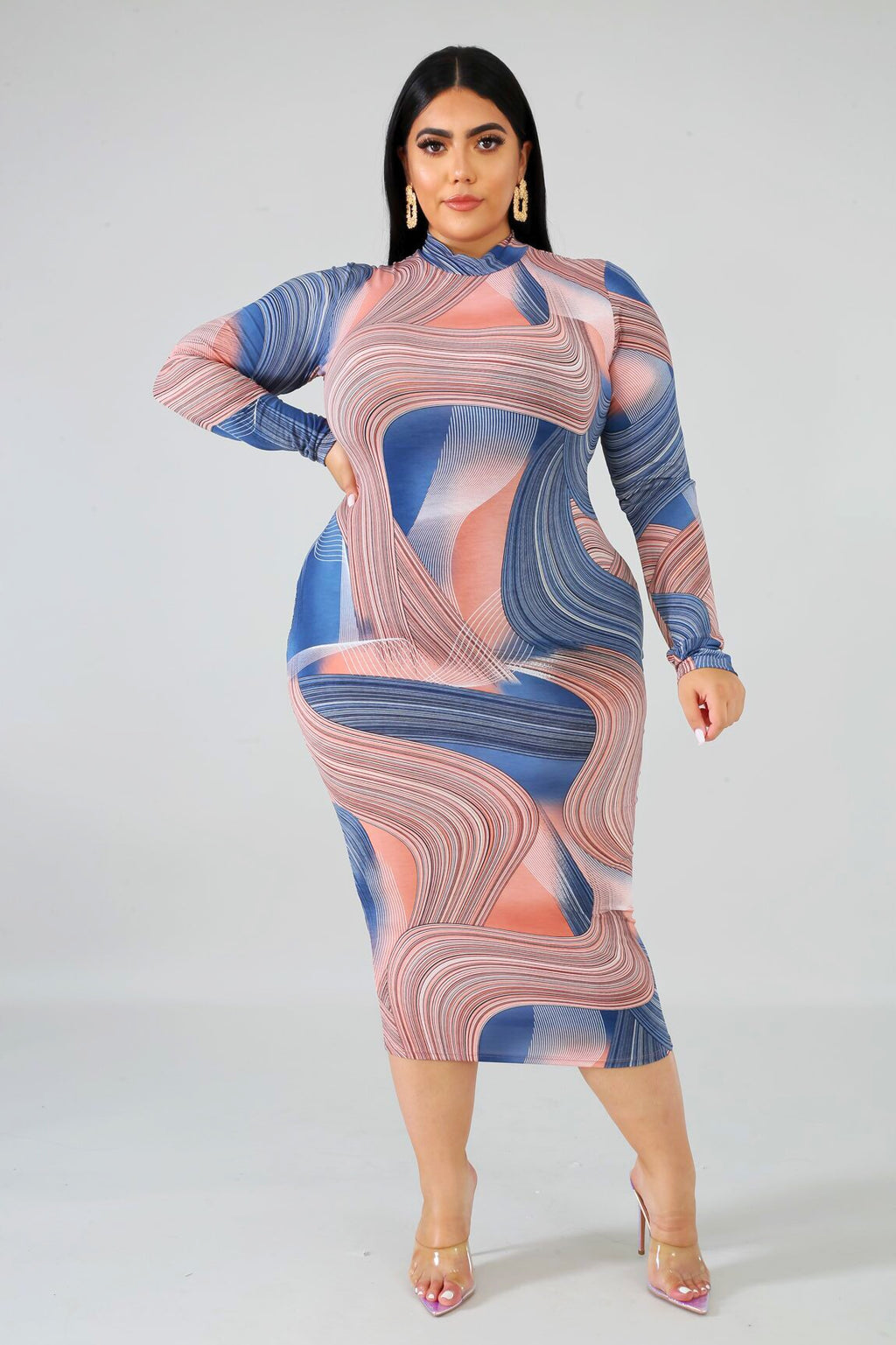 Here To Stay Plus Size Blue Marbled Midi Dress