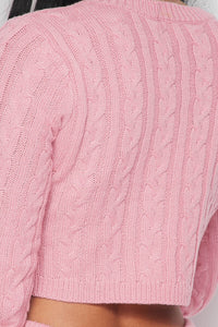 Love Nets Pink Knit Crop Sweater Pants Set