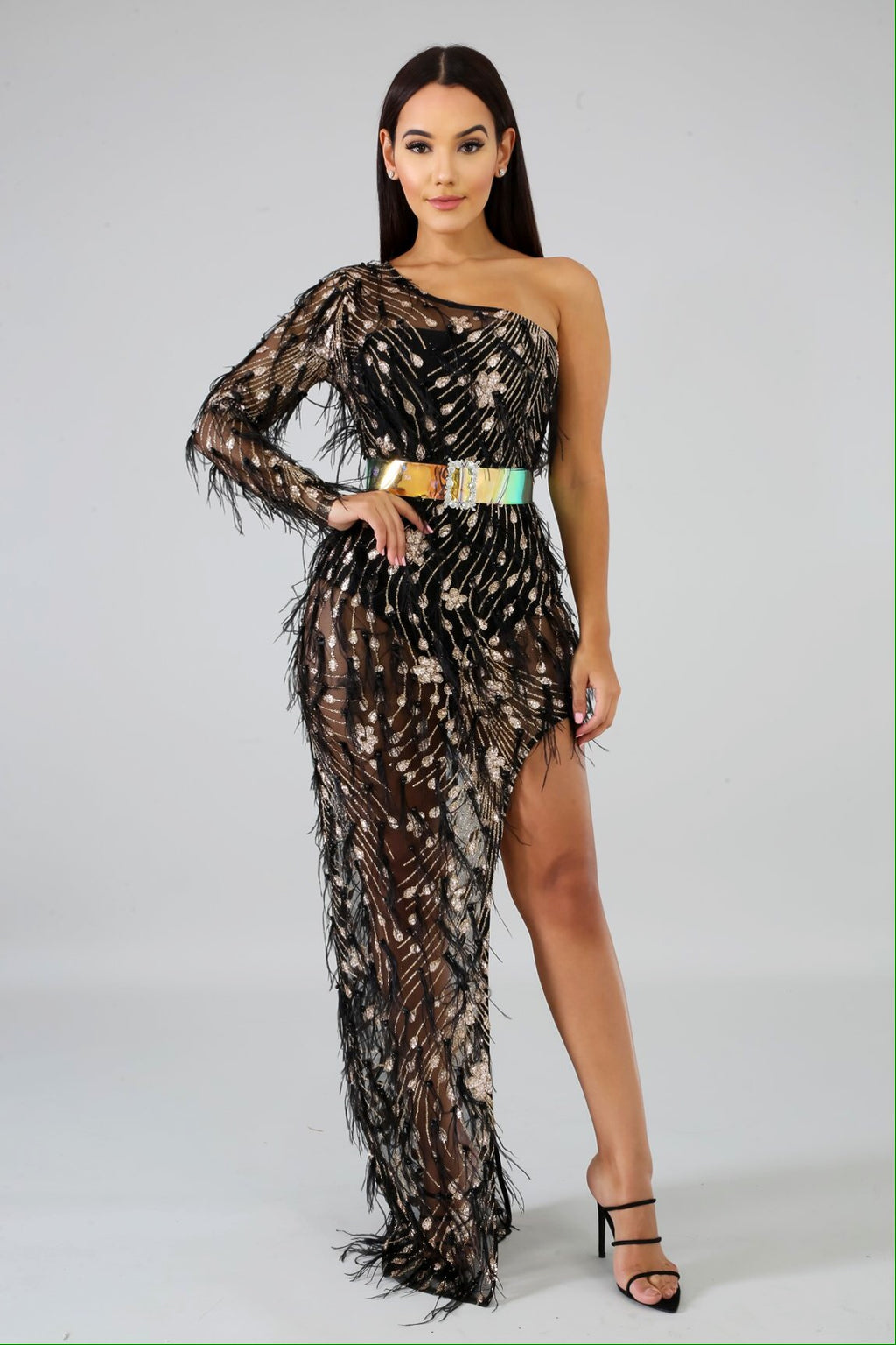 Giselle Sequin Feather Dress