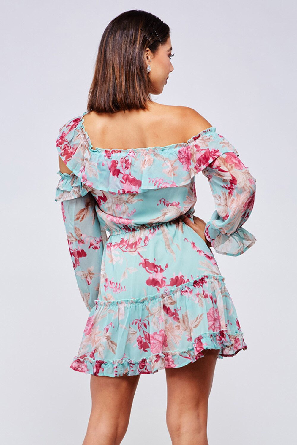 Flower Bomb Ruffled Floral Mini Dress