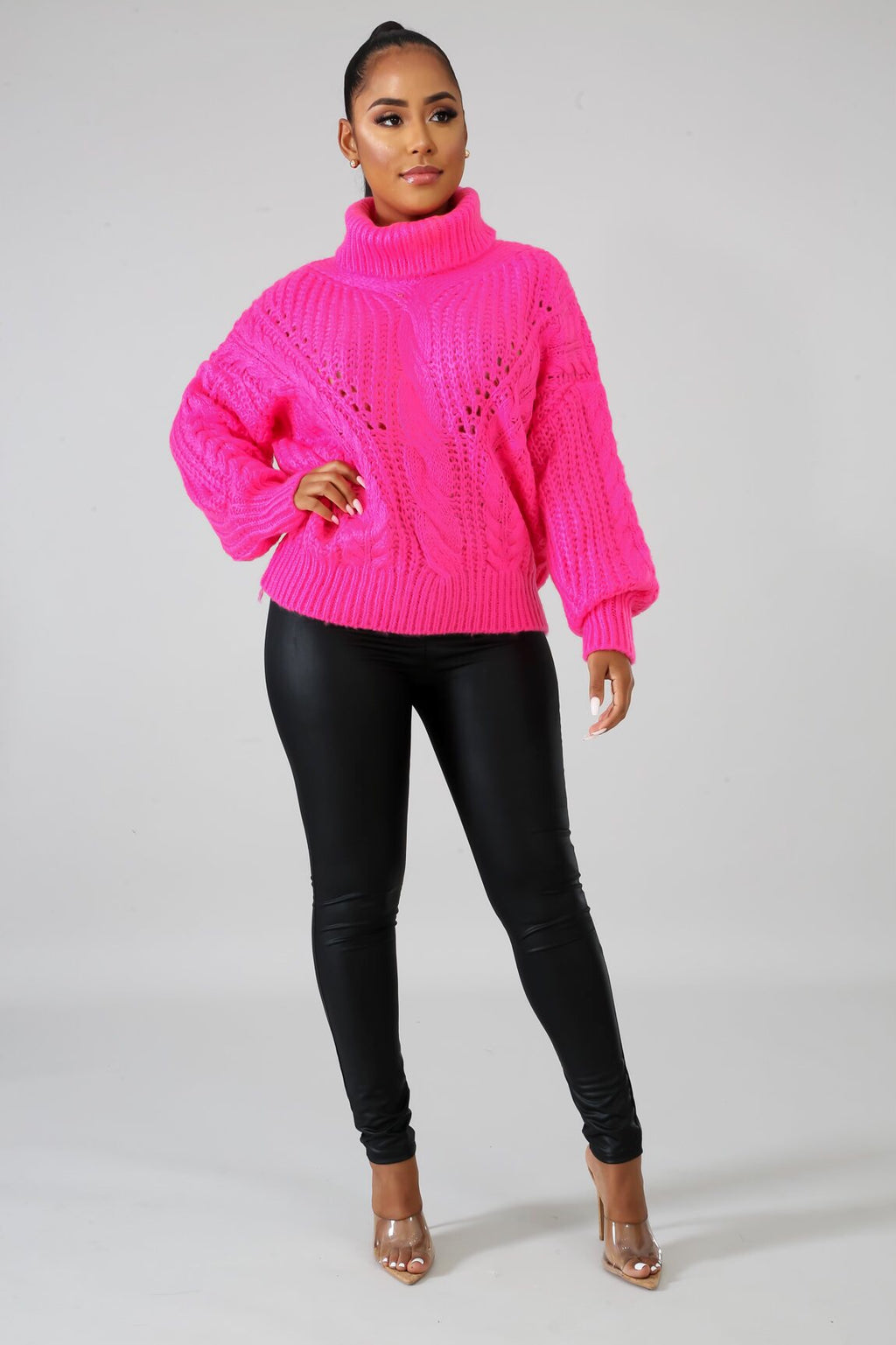 Frost Pink Oversized Turtle Neck Sweater