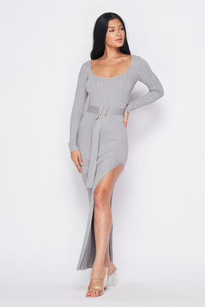 Belted Slit Sweater Dress