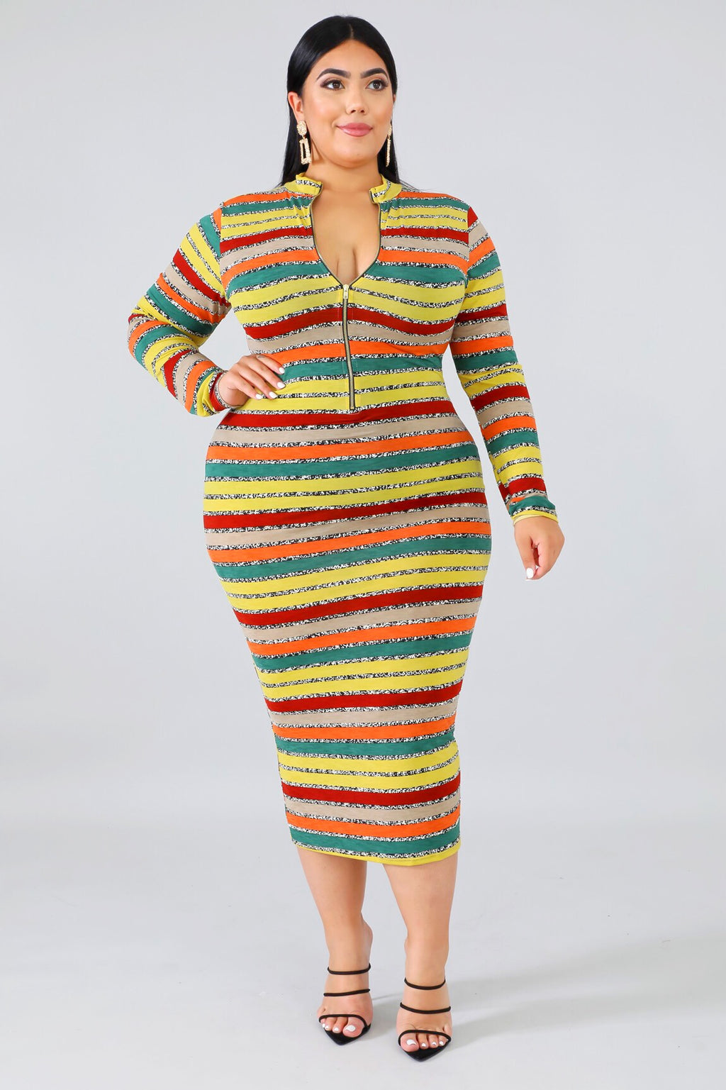 Multi Print Plus Size Midi Dress