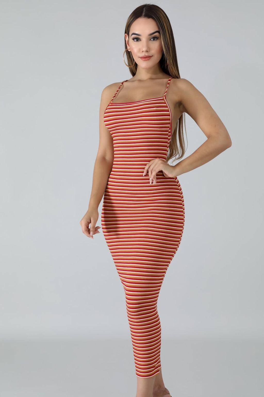 Pose Stripe Midi Dress