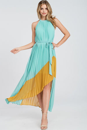 Sage Color Block Maxi Dress