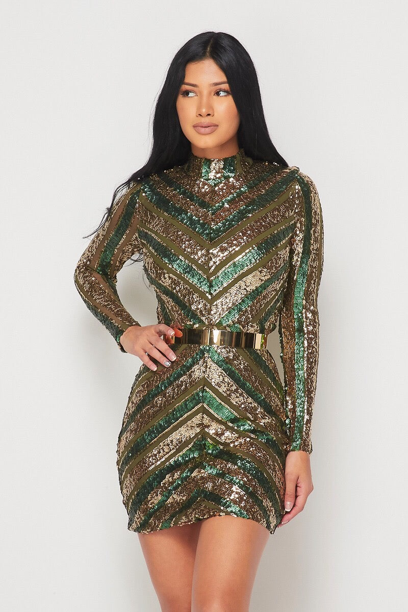 Galaxy Bomb Green Sequin Dress