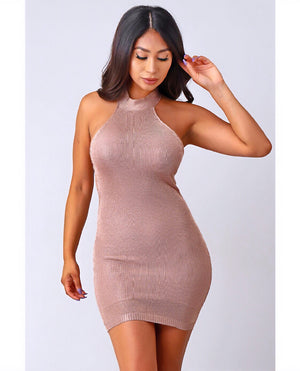 Melted Metallized Knit Dress