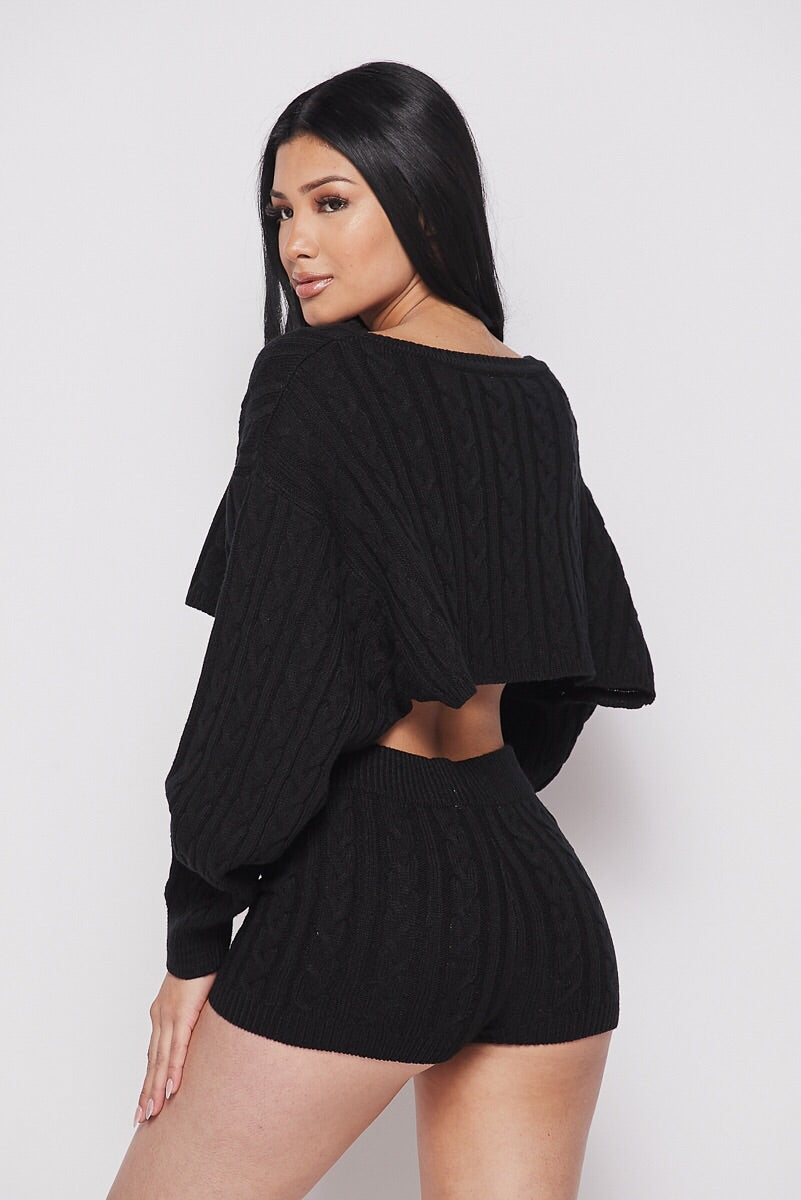 Love Nets Black Oversized Crop Sweater Knit Short Set