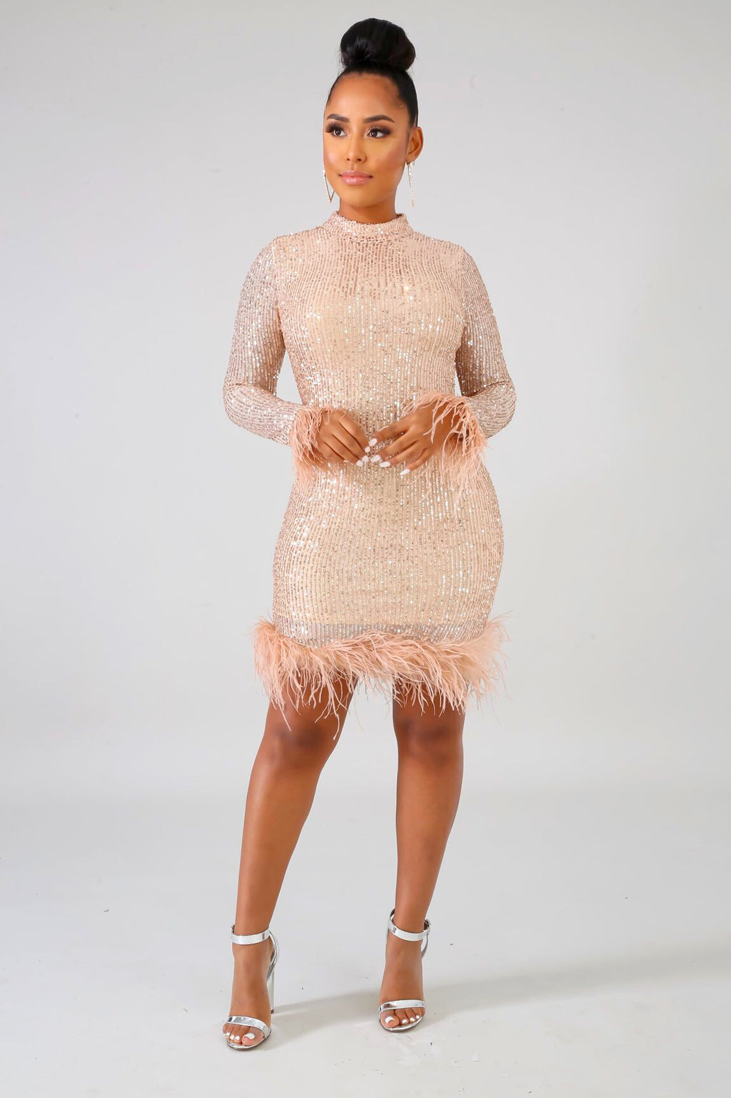 Gold Feather Sequin Dress