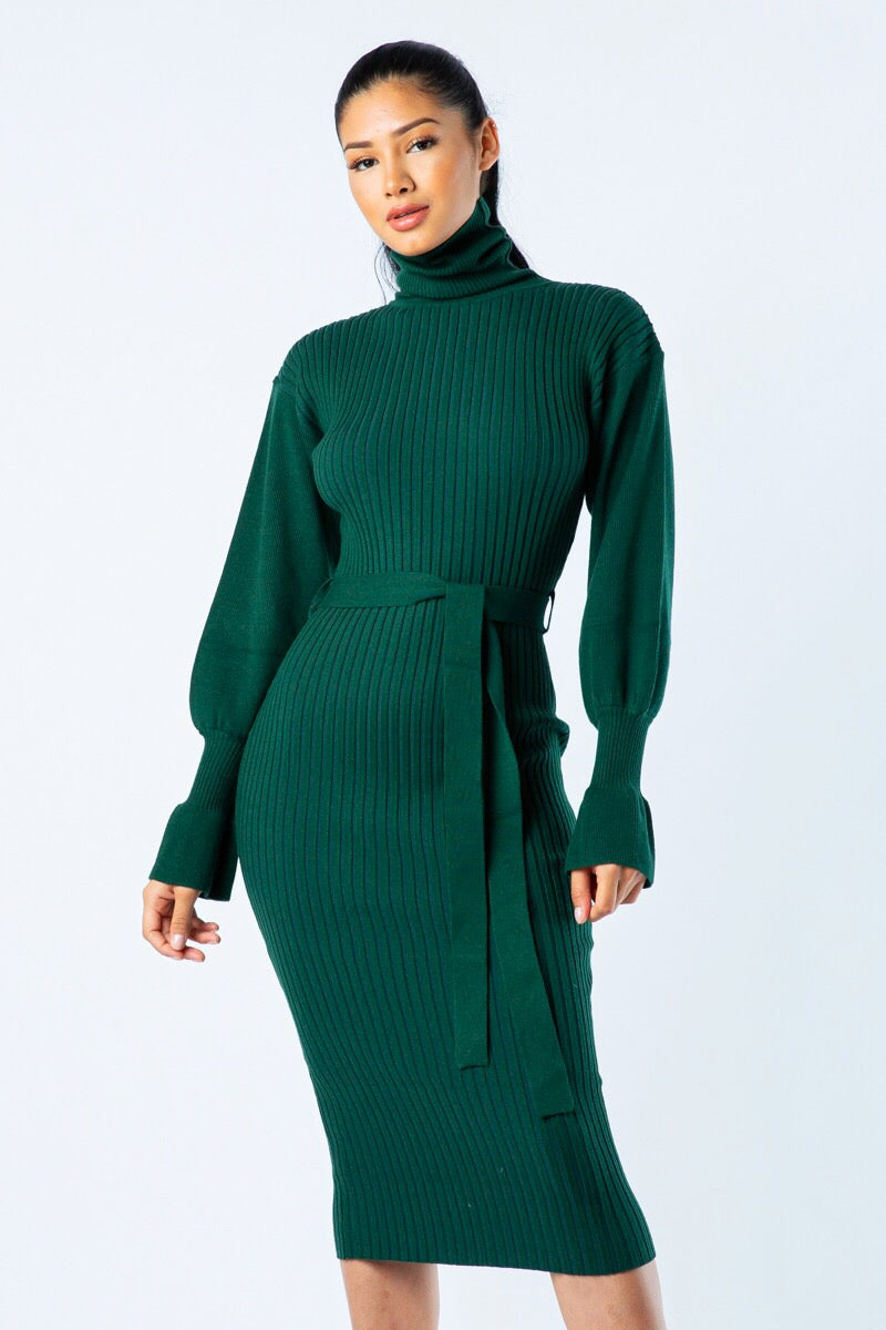 Soft Spot Hunter Green Turtle Neck Sweater Dress
