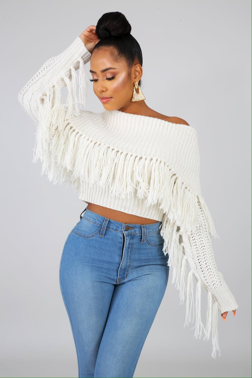 Frye Fringe Off-Shoulder Knit Sweater Top