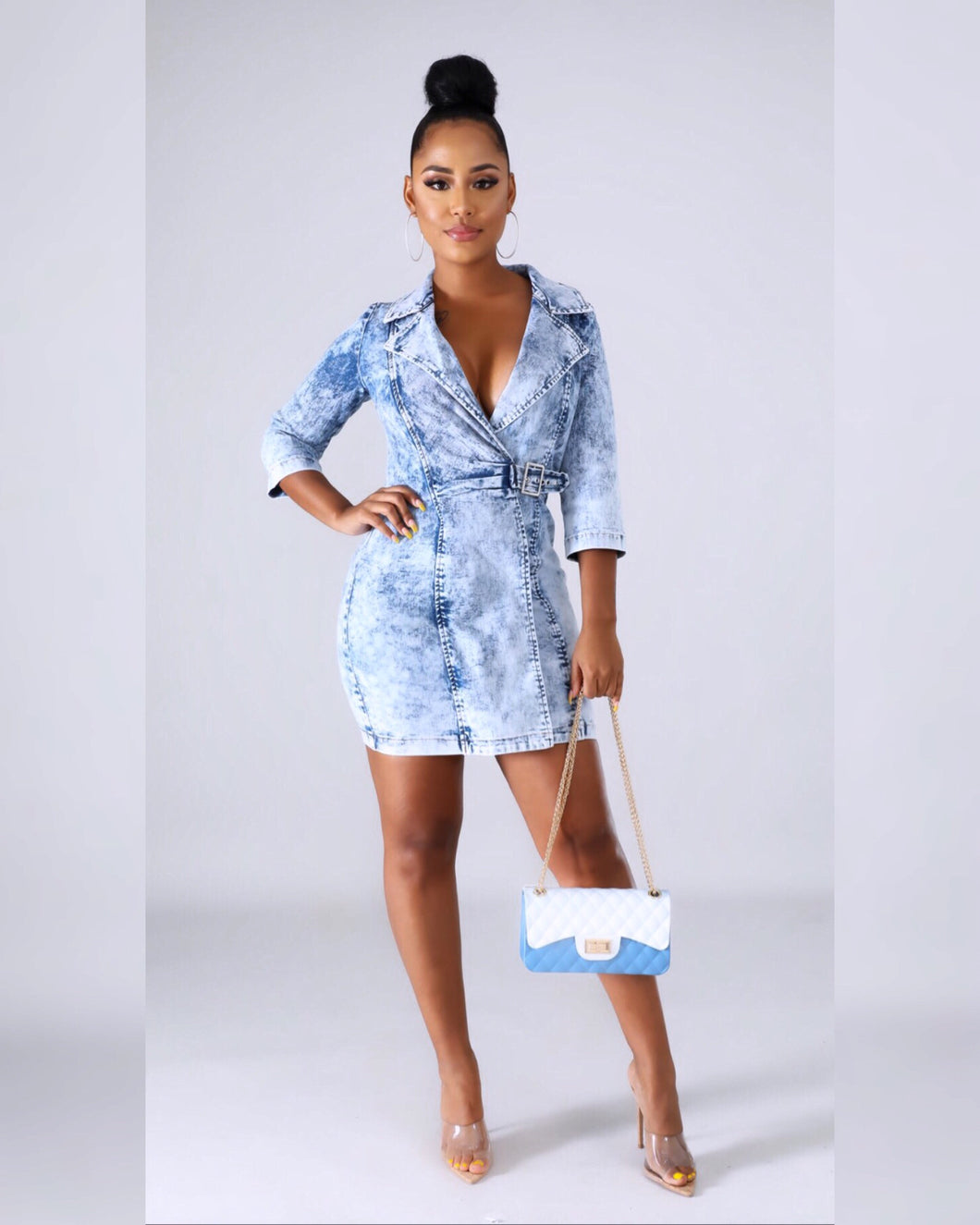 Bombshell Rustic Mini Denim Dress