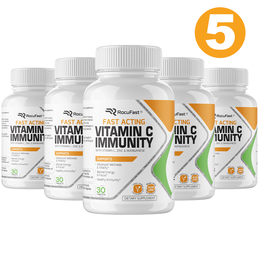 5 MONTH SUPPLY: Rocufast Vitamin C Immunity (5 Bottles)