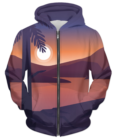 Mountain Landscape First Person UNISEX ZIP HOODIE