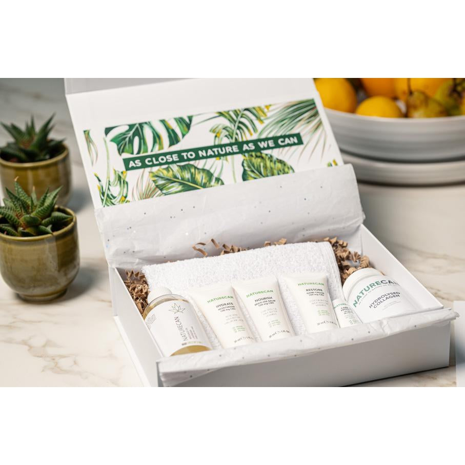 CBD essentials beauty box with products in packaging