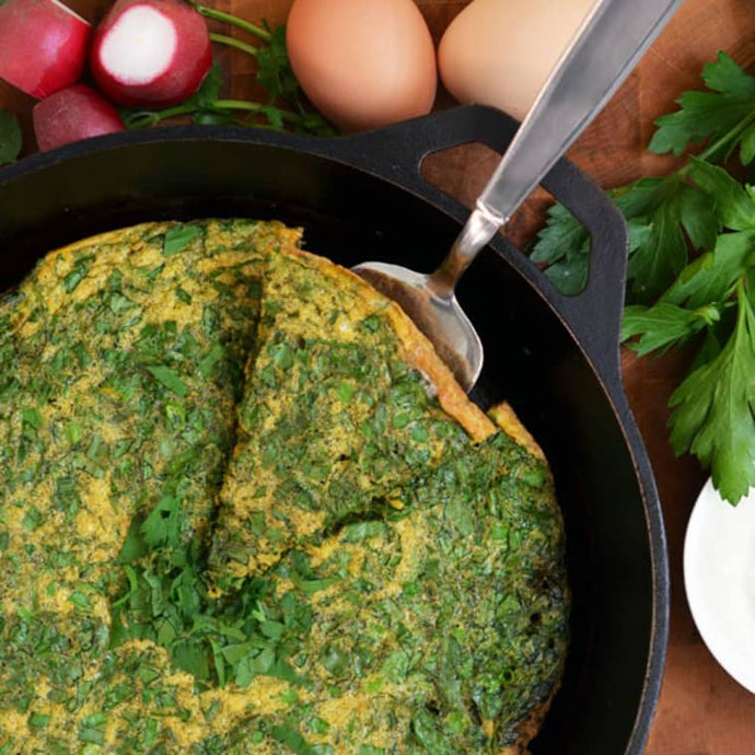 Persian Herb Frittata (Kuku Sabzi) with Future Fresh Coriander and Italian Flat-Leaf Parsley