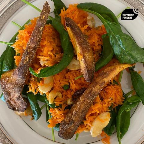 Moroccan Carrot Salad with Futute Fresh Spinach and Spearmint