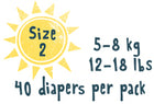 Size 2 - 40 diapers per pack