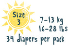Size 3 - 34 diapers per pack