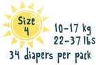 Size 4 - 34 diapers per pack