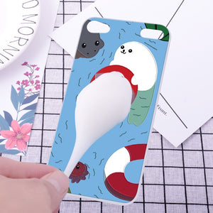 Silicone phone case + cat stress plush for iPhone