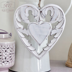 Wooden Shabby Chic Hanging Heart