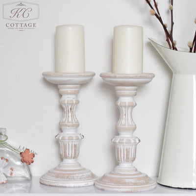 White Washed Wooden Candle Holder